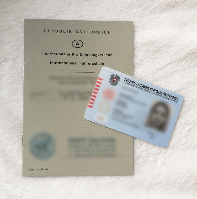 personal ausweis und internationaler führerschein