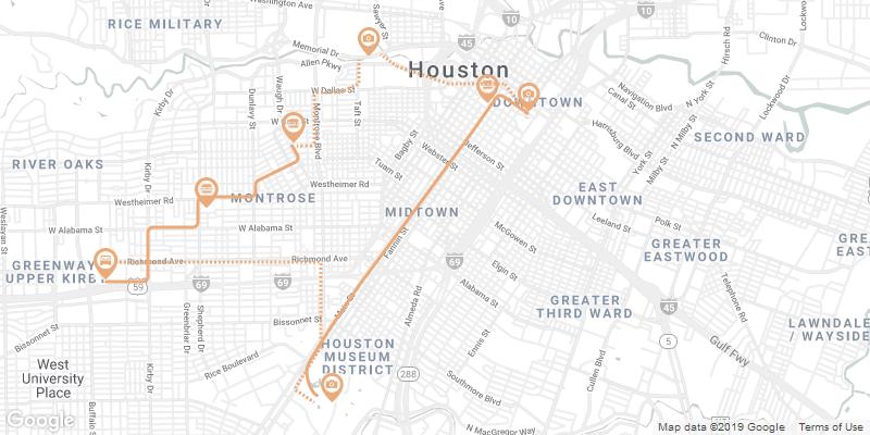 Houston Karte mit Gehweg